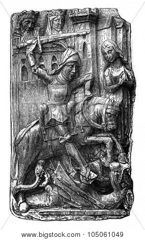 Saint George slaying the dragon, bas-relief of the Saint-Ouen church in Pont-Audemer, vintage engraved illustration. Magasin Pittoresque 1878.
