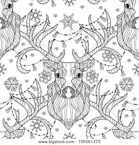 Christmas deer head doodle with lighting bulb