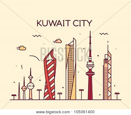 Kuwait city skyline silhouette vector linear style