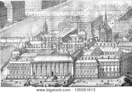 View the crow flies from Paris courthouse, vintage engraved illustration. Magasin Pittoresque 1877.