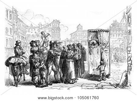 Puppets, vintage engraved illustration. Magasin Pittoresque 1877.