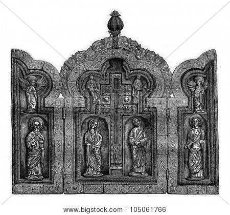 Museum of Antiquities in Brussels, Triptych vermeil of the twelfth or thirteenth century, vintage engraved illustration. Magasin Pittoresque 1877.