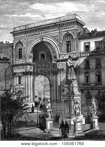 The Statue of Leonardo da Vinci and the Galleria Vittorio Emanuele in Milan, vintage engraved illustration. Magasin Pittoresque 1877.