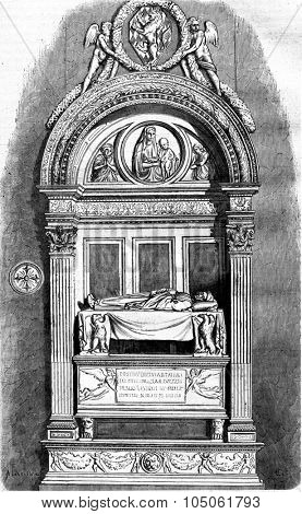 The Tomb of Leonardo Bruni by Rossellino and Andrea Verrocchio, at Santa Croce, vintage engraved illustration. Magasin Pittoresque 1877.