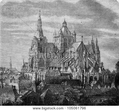 St. John's Cathedral of 's-Hertogenbosch, vintage engraved illustration. Magasin Pittoresque 1877.