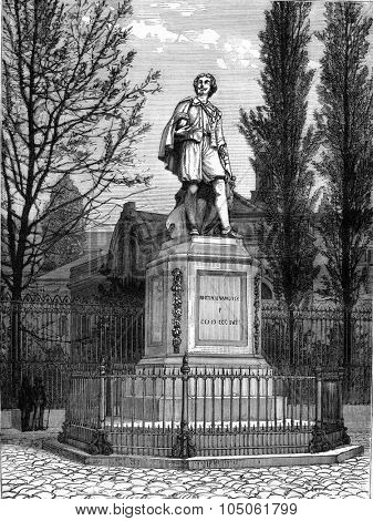 The Statue of Van Dyck in Antwerp by Leonardo Cuyper, vintage engraved illustration. Magasin Pittoresque 1877.