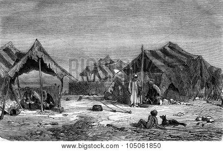 A Kurdish camp in Diyarbakir, vintage engraved illustration. Magasin Pittoresque 1877.