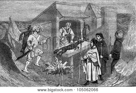 Butcher of fox, Tartary, vintage engraved illustration. Magasin Pittoresque 1867.