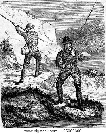 Fishing for salmon fly, Handling cane in large fly, vintage engraved illustration. Magasin Pittoresque 1867.
