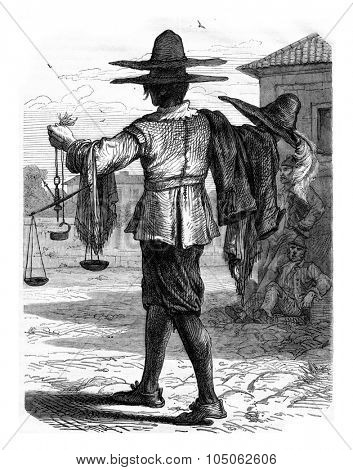 The Merchant of straw hats, vintage engraved illustration. Magasin Pittoresque 1867.