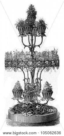 Tiered planter, vintage engraved illustration.