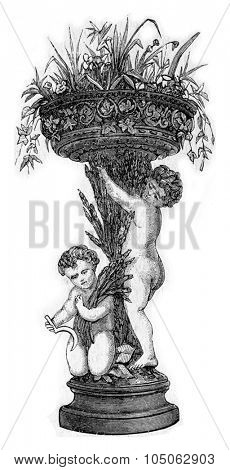 Planter apartment, vintage engraved illustration.
