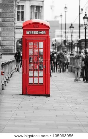 Traditional Old Style Red Telephone Box In London