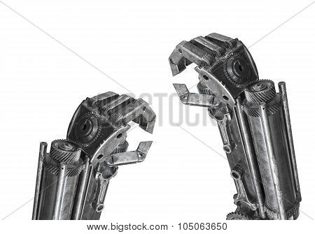 Hand Of Robot Sculpture Made From Scrap Metal Isolated