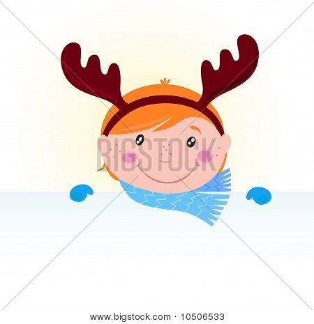 Cute Christmas kid in reindeer costume with blank banner /sign