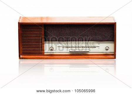 Vintage Radio On The White
