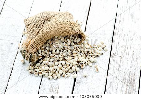 Chinese Herb Pearl Barley On Grunge White Table