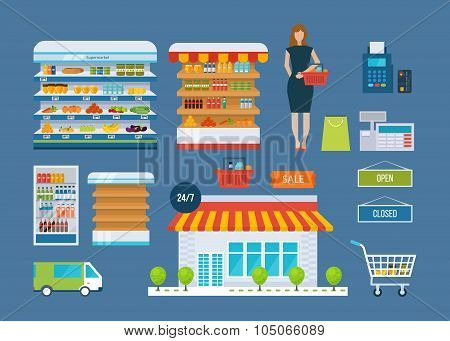 Supermarket store concept with food assortment