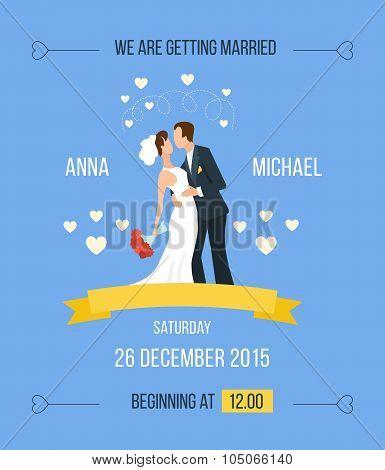 Wedding invitation with cartoon bride, groom
