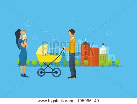 Happy young family with stroller and a baby, walk concept