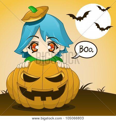 Cute Kid Popping Out Of Pumpkin