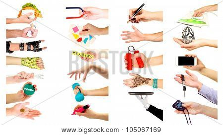 Hands with different objects isolated on white