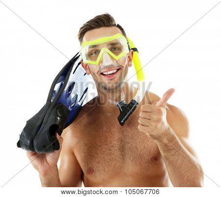 Young man with swimming mask or goggles with flippers, isolated on white