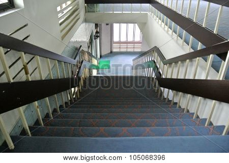 Internal staircase at Kuching Town Mosque a.k.a Masjid Bandaraya Kuching in Sarawak, Malaysia