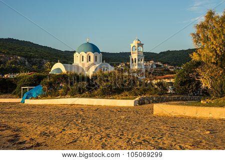 White Church Blew Domes Near The Beach
