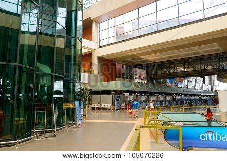 HANOI, VIETNAM - MAY 11, 2015: Noi Bai Airport interior. Noi Bai International Airport is the largest airport in Vietnam. It is the main airport serving Hanoi, replacing the role of Gia Lam Airport