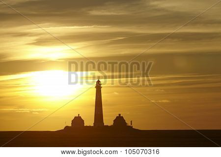 Westerhever (germany) - Lighthouse At Sunset