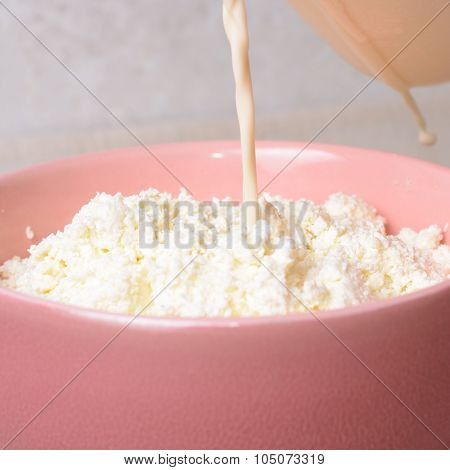 Baked Milk Is Poured On The Curd