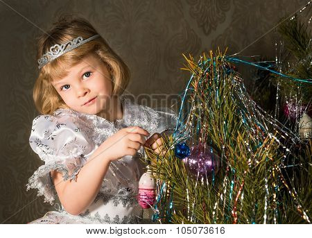 Little Princess At The Christmas Tree