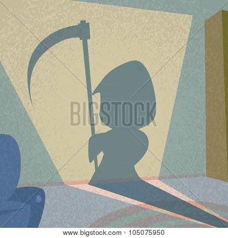 Cartoon Grim Reaper Smile Hold Scythe Shadow Silhouette Retro Shape