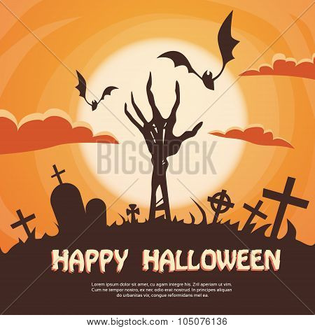 Halloween Banner Cemetery Graveyard Skeleton Hand From Ground Party Invitation Card