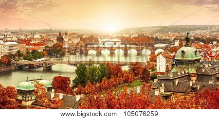 Sunset landscape view to Charles bridge on Vltava river in Prague Czech republic. Illustration