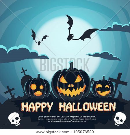 Halloween Banner Cemetery Graveyard Party Invitation Card Pumpkin Face