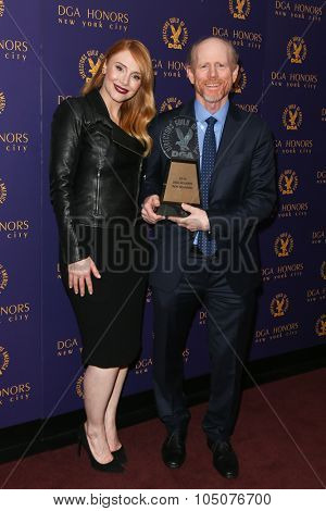 NEW YORK-OCT 15: Actress Bryce Dallas Howard (L) and director Ron Howard attend the DGA Honors Gala 2015 at the DGA Theater on October 15, 2015 in New York City.