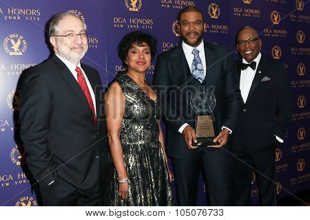 NEW YORK-OCT 15: (L-R) Vincent Misiano, Phylicia Rashad, Tyler Perry and DGA President Paris Barclay attend the DGA Honors Gala 2015 at the DGA Theater on October 15, 2015 in New York City.