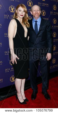 NEW YORK-OCT 15: Actress Bryce Dallas Howard and Director Ron Howard attend the DGA Honors Gala 2015 at the DGA Theater on October 15, 2015 in New York City.