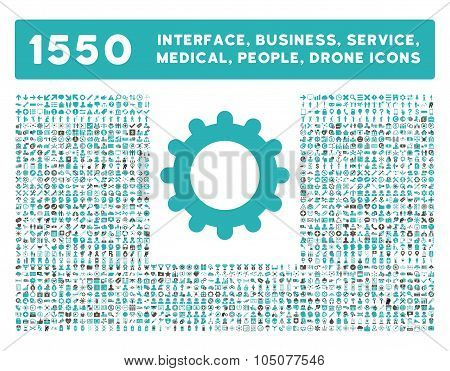 Gear Icon and More Interface, Business, Tools, People, Medical, Awards Flat Glyph Icons