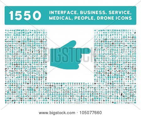 Index Finger Icon and More Interface, Business, Tools, People, Medical, Awards Flat Glyph Icons