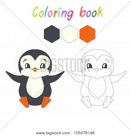 Coloring book penguin kids layout for game