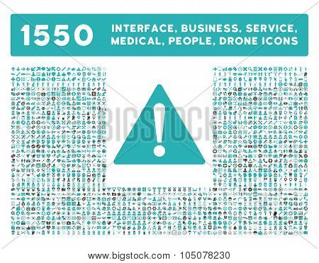 Warning Icon and More Interface, Business, Tools, People, Medical, Awards Flat Glyph Icons