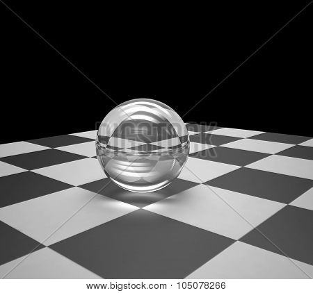 Glass Sphere On A Chessboard