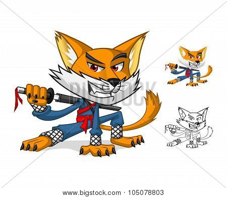 Ninja Cat Mascot Cartoon Character