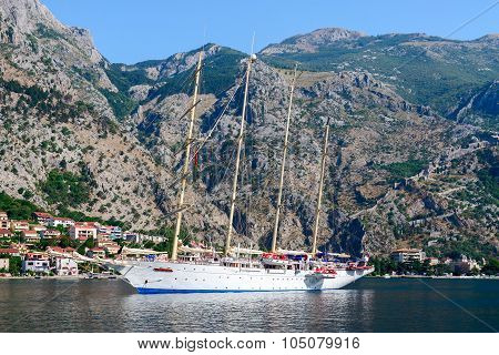 The Yacht In The Bay Of Kotor, Montenegro