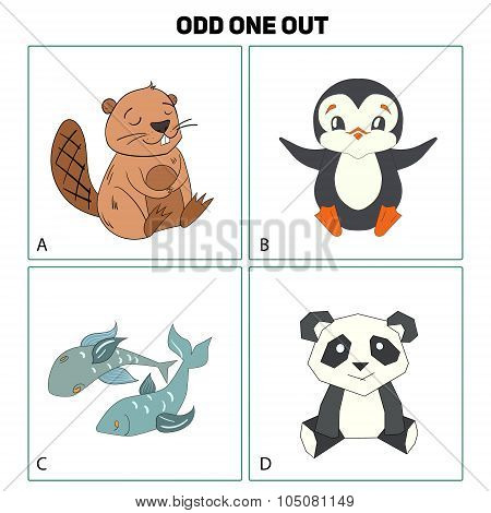 Odd one out child game vector illustration