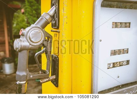 Close Up Of Yellow Vintage Fuel Dispenser