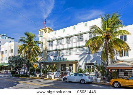 The Famous Ocean Drive Avenue In Miami Beach